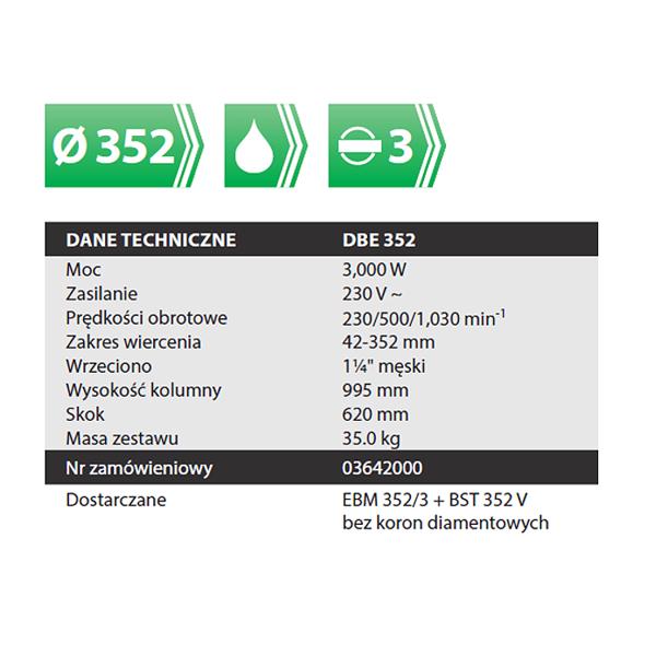 Wiertnica Eibenstock Zestaw DBE 352  do fi 352mm